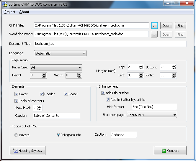 Softany CHM to DOC Converter 3.01